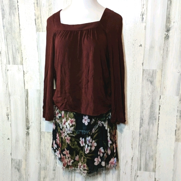 CHASER Burgundy Square Neck Long Sleeve Knit Top M